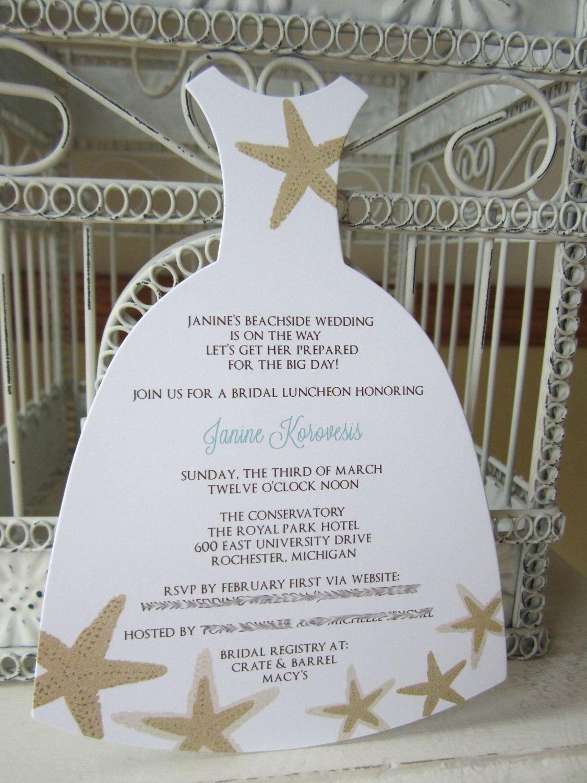 Beach Theme Star Fish Bridal Shower Invitation - Custom Dress Die ...