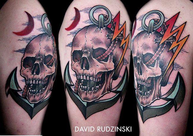 Tatouage Tete De Mort Avec Une Ancre Inkage Tete De Mort Tatouage Tatouages Tete De Mort