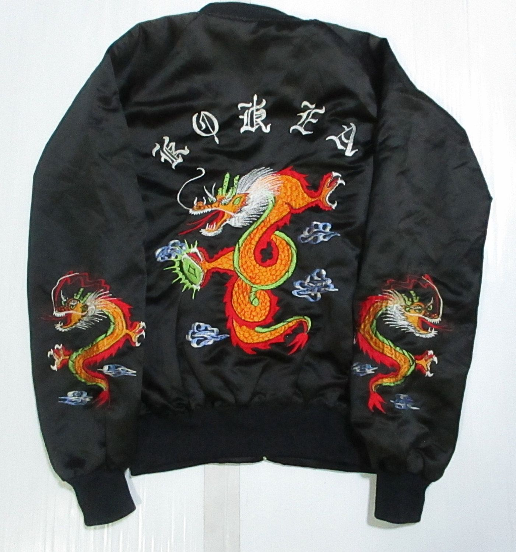 Vintage sukajun jacket korea dragon embroidered unisex