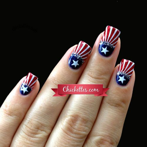 Chickettes patriotic 4th of july nail art nail inspiration 56 fantastic bright summer and fourth of july nail design ideas prinsesfo Choice Image