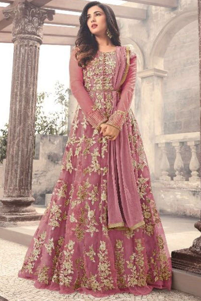 4081bcd07f Sonal Chauhan Pink Color Gorgeous Party Wear Net Fabric Designer Bollywood  Style Floral Embroidery Work Wedding Wear Bridal Style Fancy Floor Length  ...
