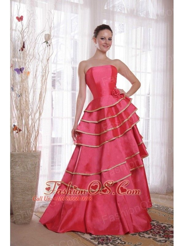 Coral Red A-line / Princess Strapless Floor-length Satin Ruffles ...