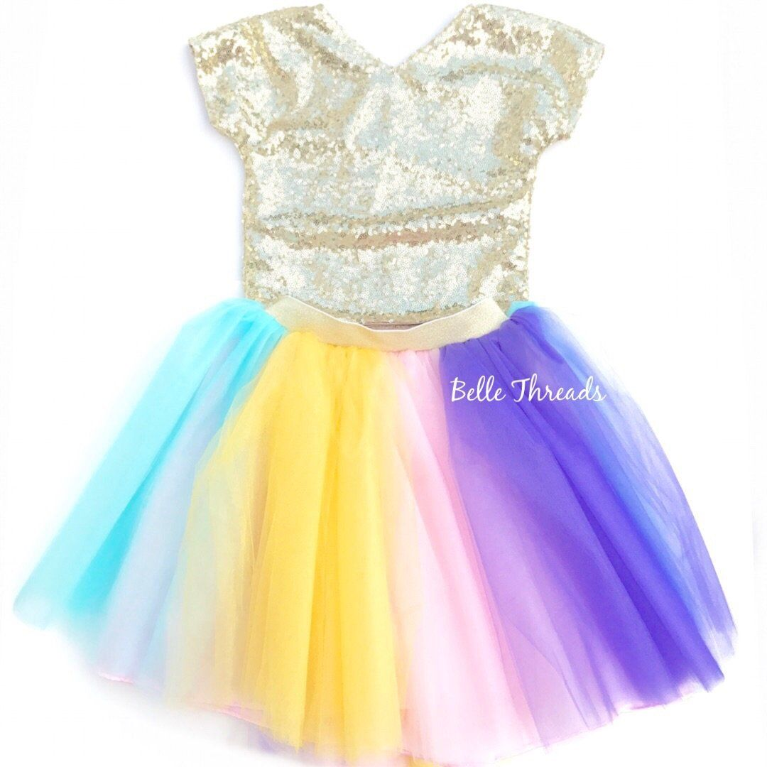 610de953ccf3 Unicorn Tutu Set - Gold Sequin Top & Pastel Rainbow Tutu Set ...