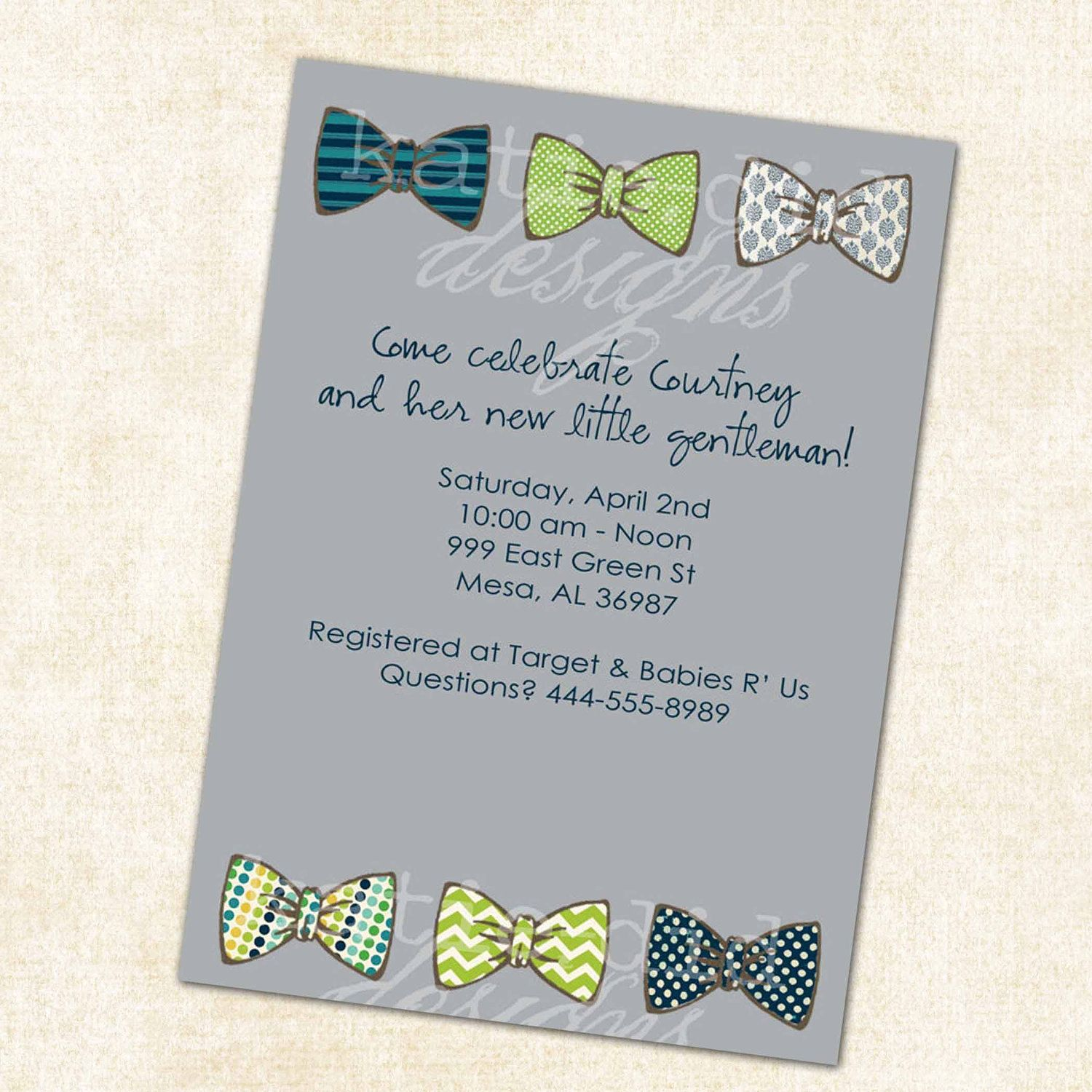 Baby Boy Shower Invitation With Bow Ties, Little Gentleman Theme, Digital,  Printable File