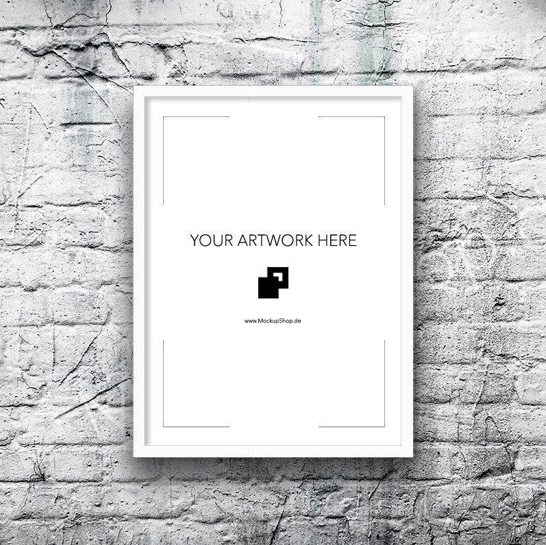 The white Frame Mockup on brick Wall | Frame Mockup 11x14 | Pinterest