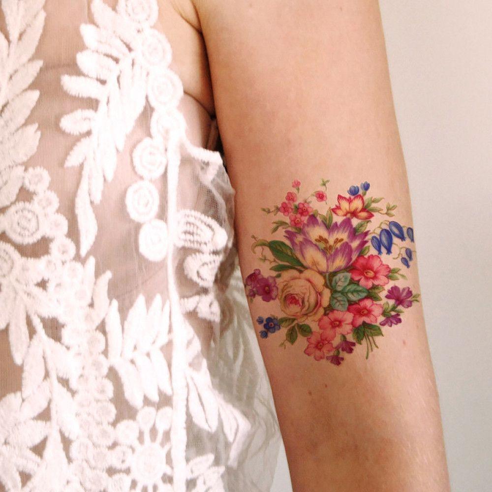 Pretty Colorful Vintage Floral Temporary Tattoo Tatoo Tattoos
