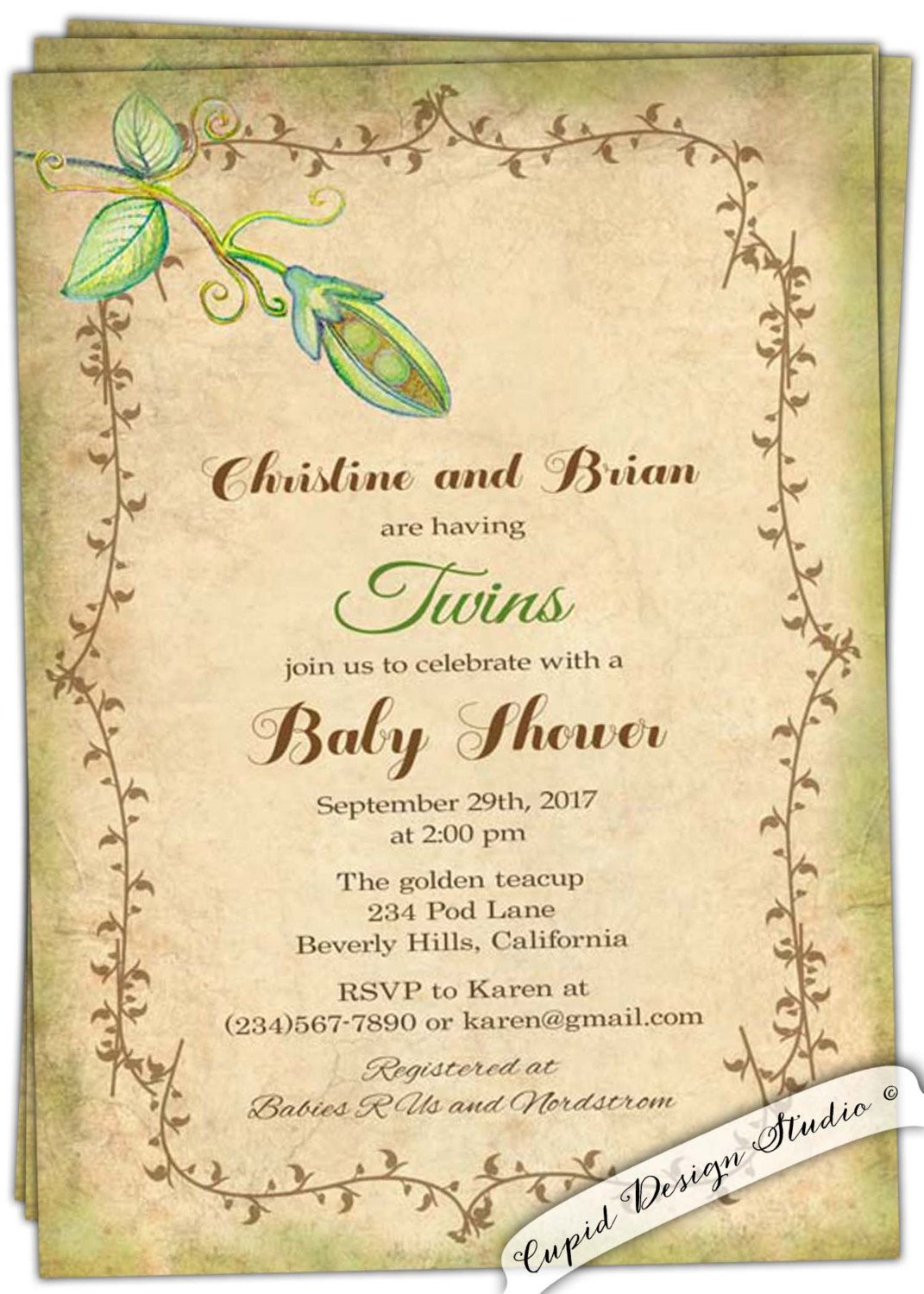 Peas in a pod baby shower invitation - Two peas in a pod baby shower ...