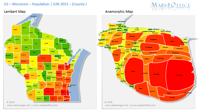 USA Wisconsin Map Population County States Heatmap For - Wisconsin on the us map