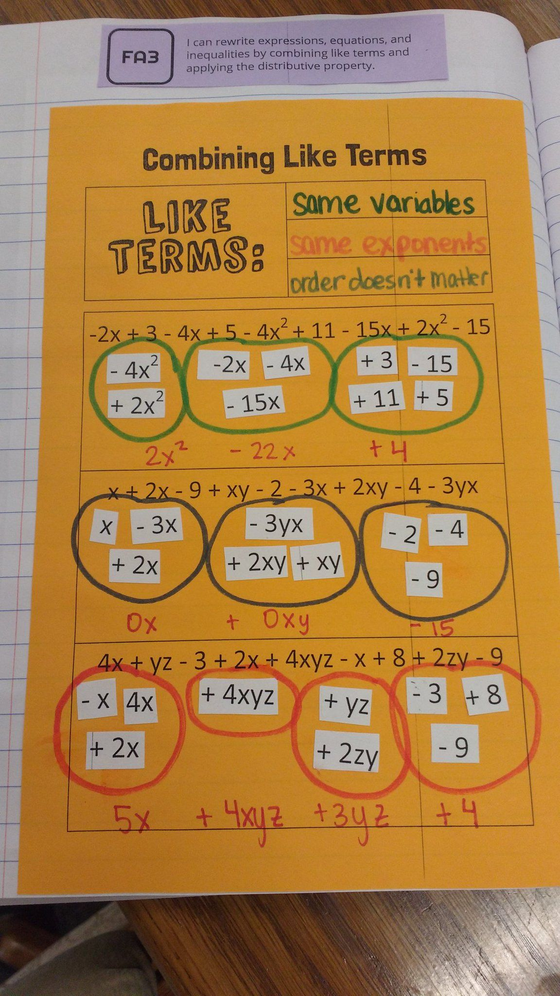 Sarah Carter On Twitter Math Expressions Combining Like Terms Like Terms