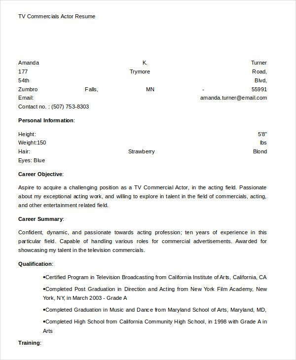 TV Commercials Actor Resume Template , Free Actor Resume Template And How  To Write Yours Properly , The Actor Resume Template Can Help Guide You When  You ...