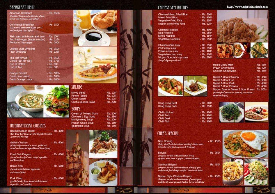 fine dining restaurant menu template