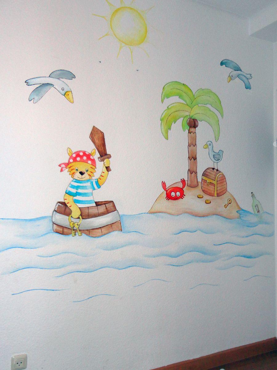 Mural infantil de piratas para cuarto de juegos - Pintar mural en pared ...