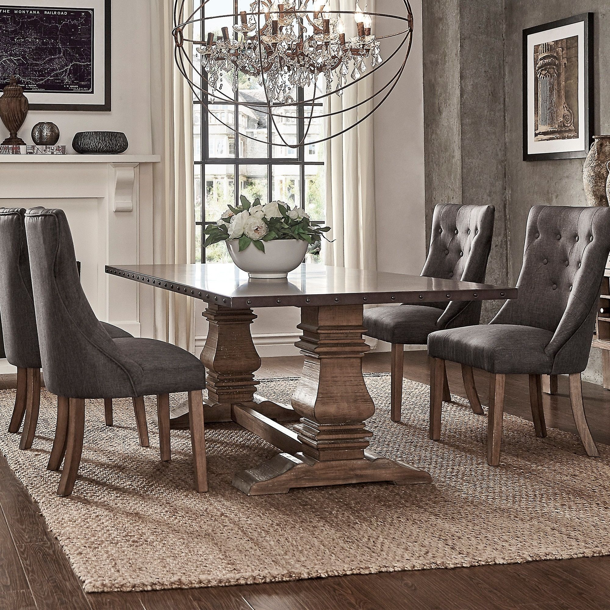 Janelle Wood And Zinc Barade 84 Inch Rectangle Dining