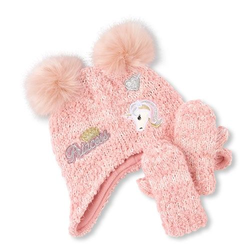 16c956b1a34 Toddler Girls Glitter Patch Pom Pom Cozy Hat And Mittens Set ...