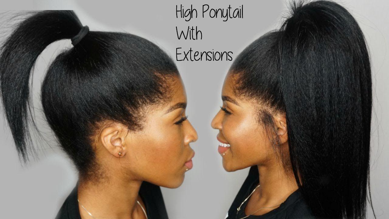 High Ponytail Using Clip Ins Ft Knappyhair Extensions Ebony Hair