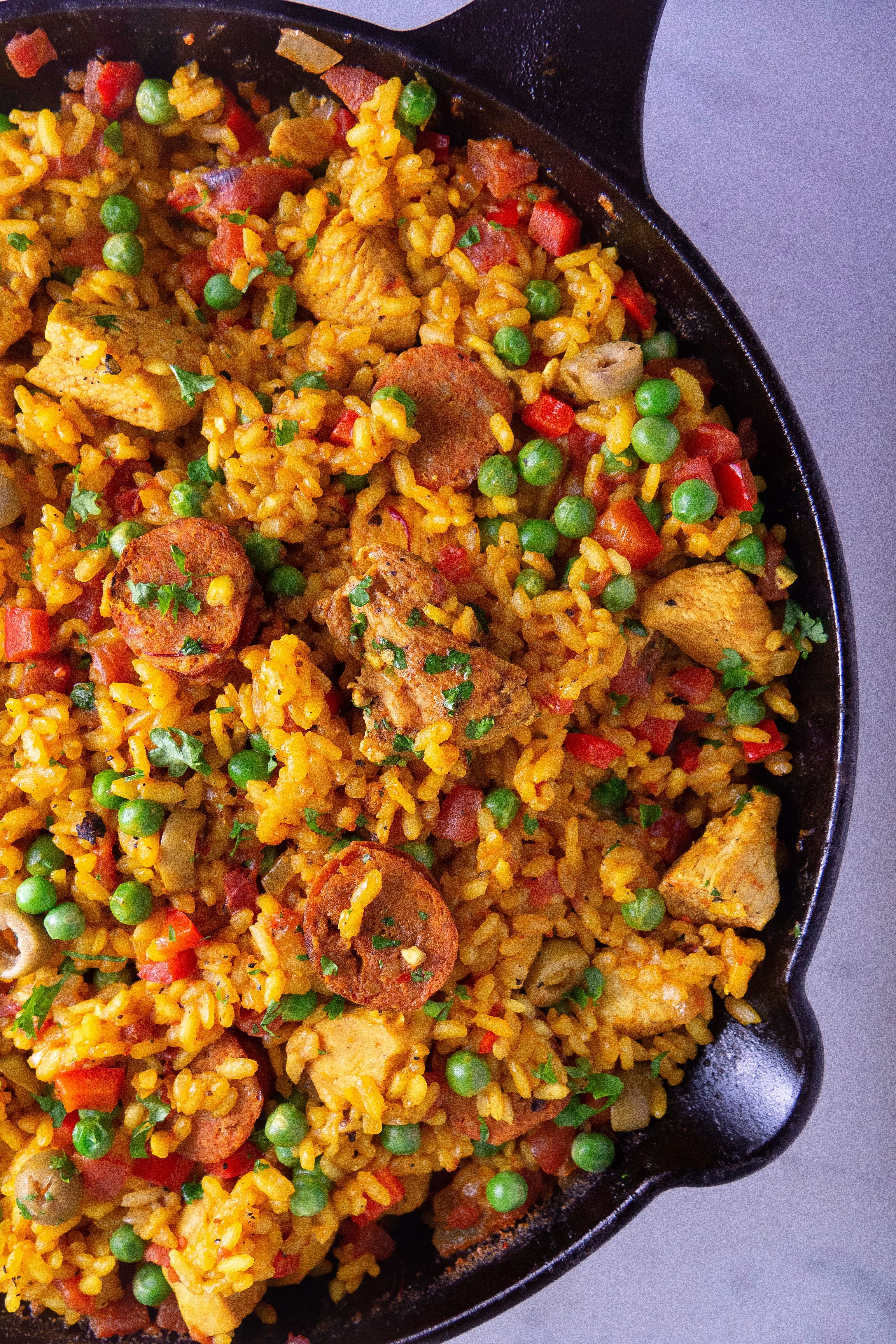 Chorizo and Chicken Paella - Girl With The Iron Cast