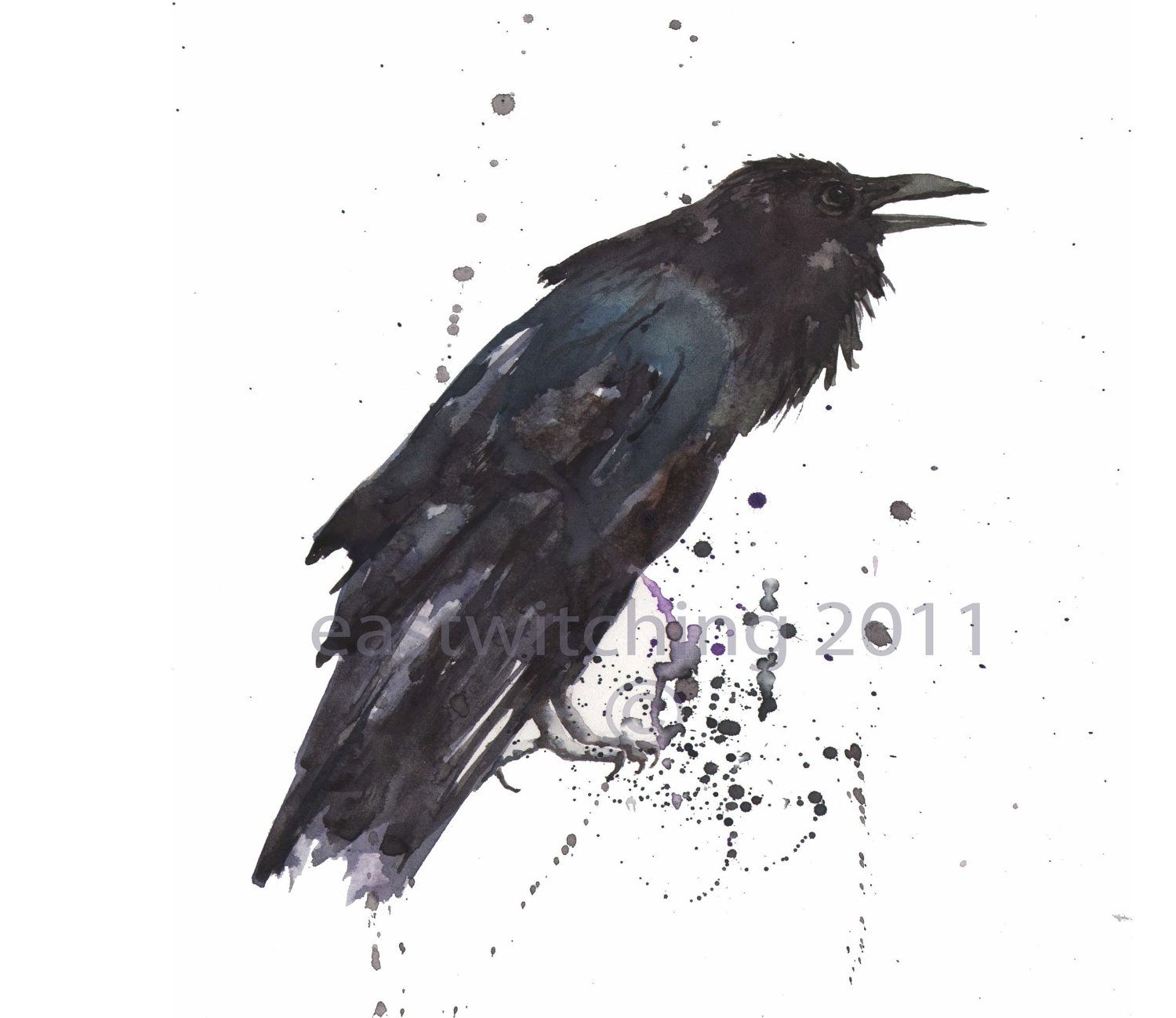 Raven watercolor print raven lover gift 8x10 print ready to crows ravens raven symbolic of biocorpaavc