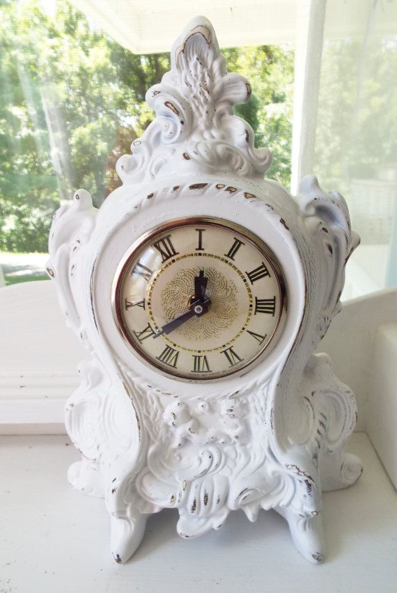 Vintage Cherubs French Rococo Clock Shabby Cottage Chic White Home ...