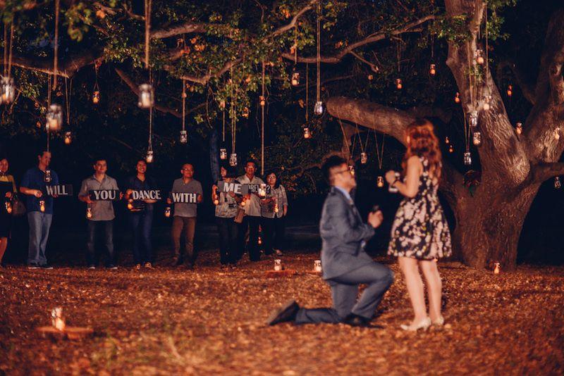 Orange County Hanging Lights Wedding Proposal Outdoor Marriage