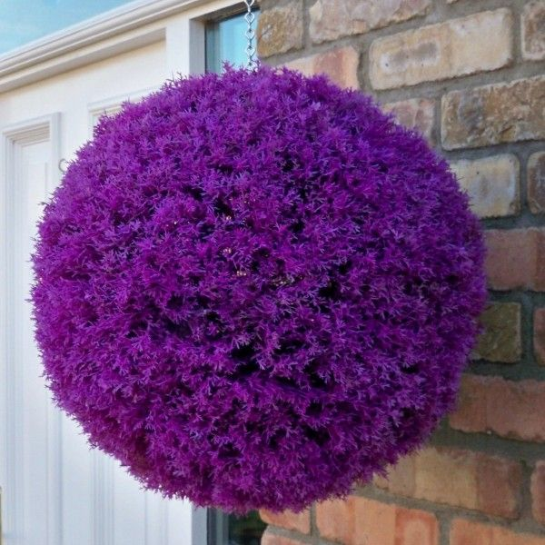 Set Of 2 Stunning Purple Heather Topiary Balls 40cm Topiary Hanging Flower Baskets Artificial Topiary