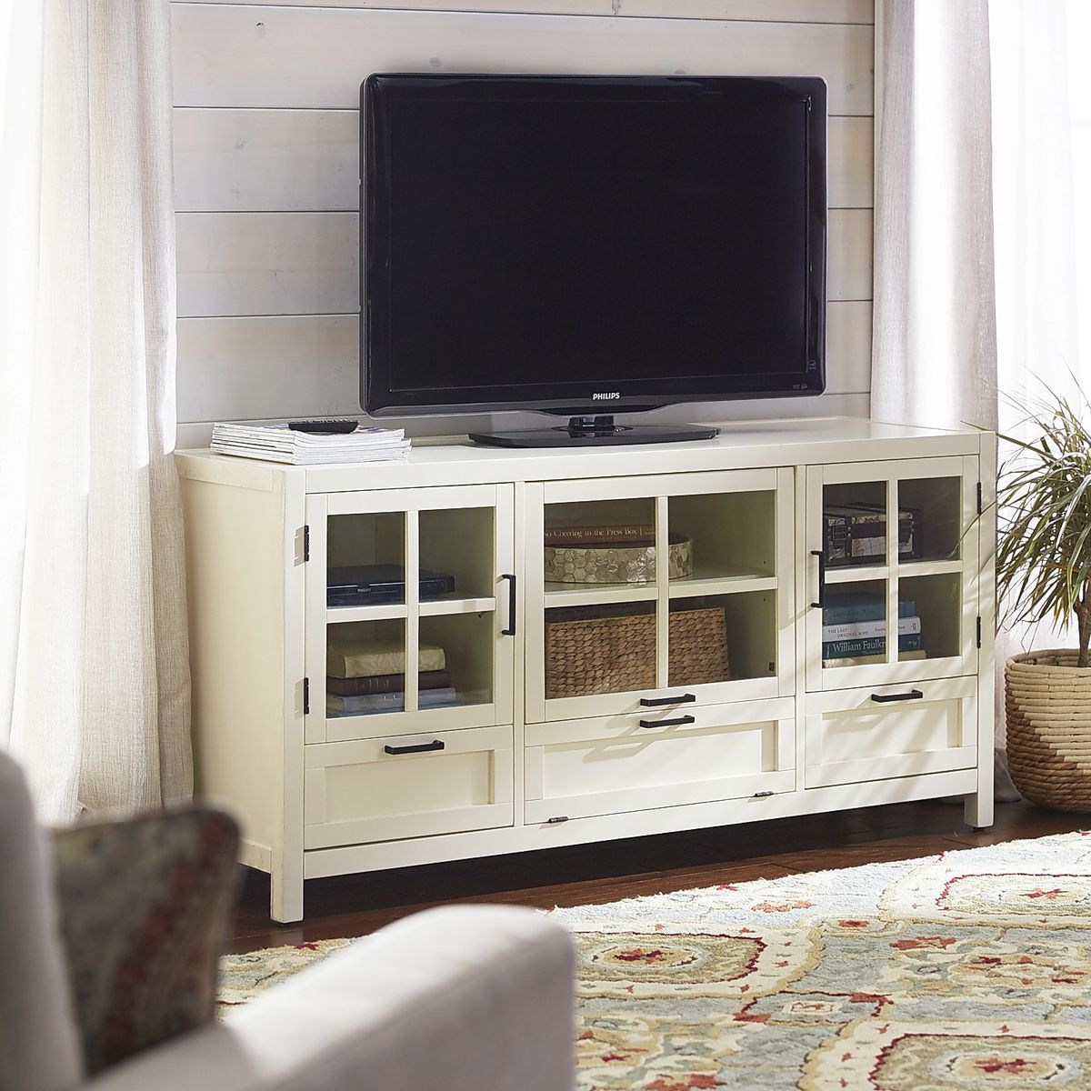 Sausalito Large Tv Stand Antique White Pier 1 Imports