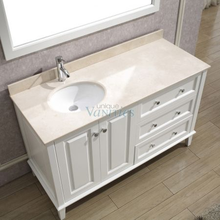 55 Inch Single Bath Vanity With Offset Sink On Left Side In 2019