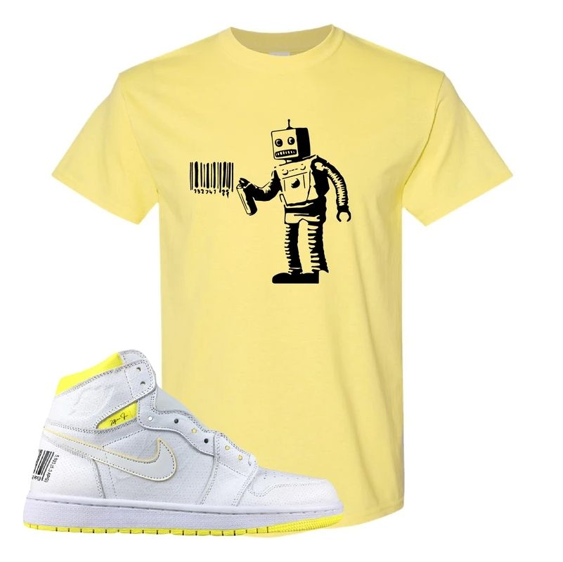 Air Jordan 1 First Class Flight Barcode Robot Yellow Sneaker Matching T-Shirt #airjordan1outfitwomen