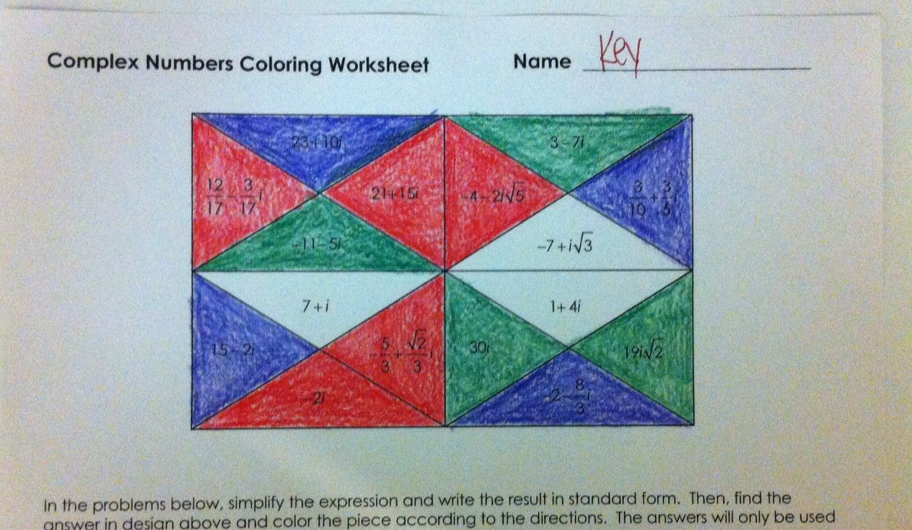 Complex Numbers Coloring Worksheet Algebra 2 Pinterest
