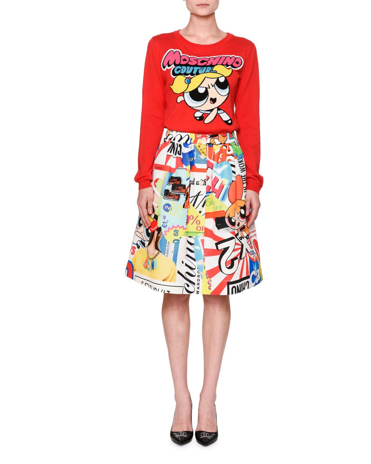 fdd608d174 Moschino Powerpuff Girls Sweater & A-Line Skirt | What We Wear ...