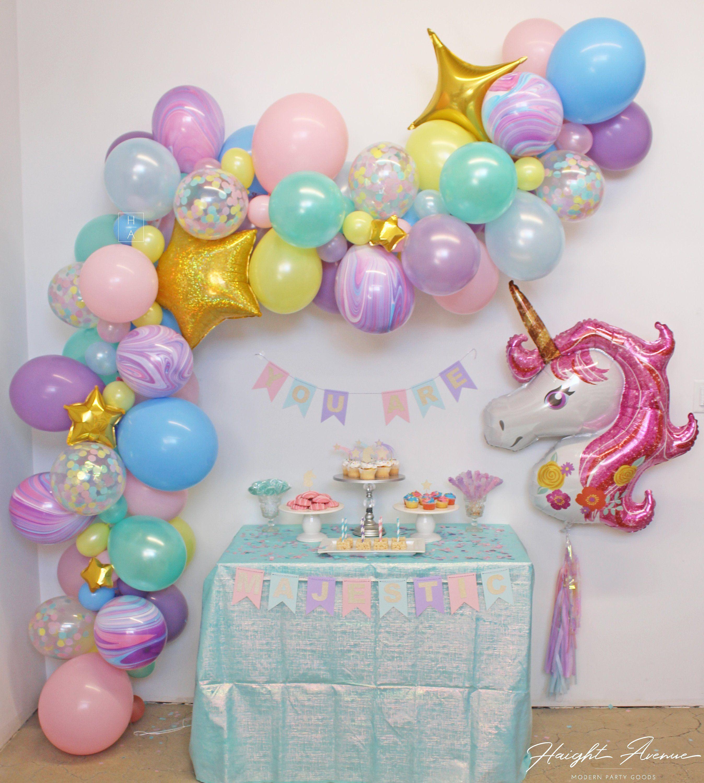 Unicorn Balloon Garland | Pastel Rainbow with marb