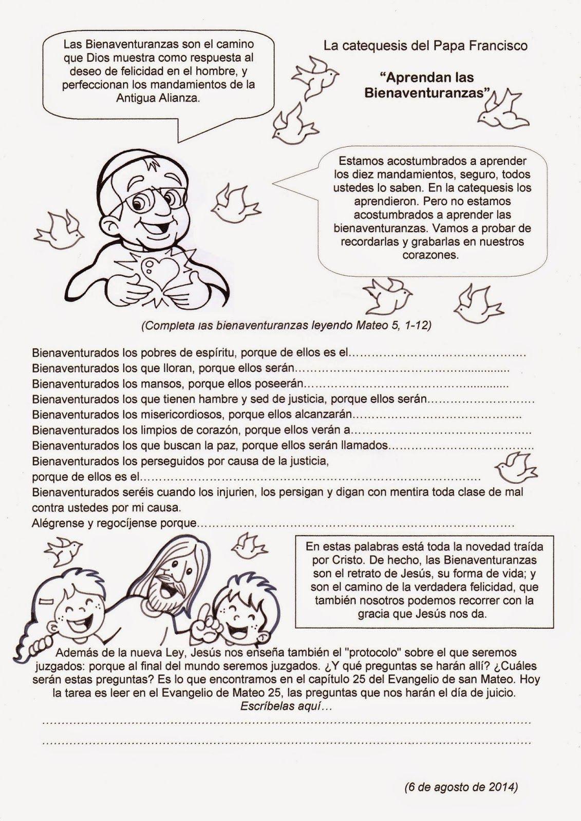 El Rincón De Las Melli La Catequesis Del Papa Francisco Aprendan Las Bienaventuranzas Catequesis Bienaventuranzas Temas De Catequesis