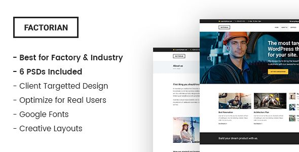 Factorian – Industry and Factory PSD Template . Factorian is a Industry and Factory PSD Template with creative, modern and clean design. Factory is designed for targeted clients. Main file includes 6 PSDs. The PSD files are fully layered and easily