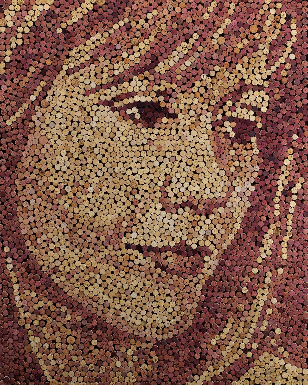 Portrait made out of wine corks, http://www.facebook.com/scottgundersen.art