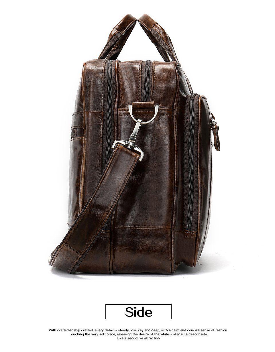 Men S Luxury Leather Weekender Travel Bag Large Capacity
