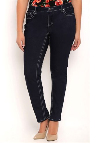 Plus Size Z Co Skinny Jean with Chandelier Pocket Embroidery and Studs