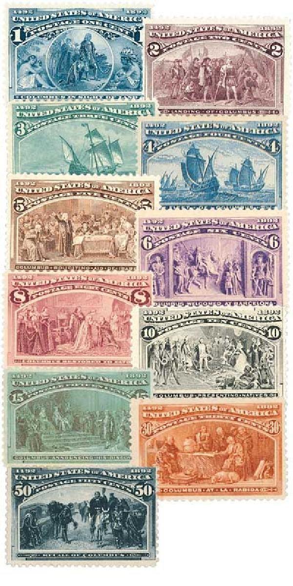 The first 11 Columbian stamps.