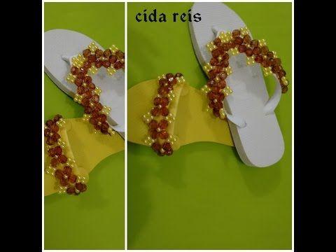 chinelo bordado com pérolas e flores de cristais duas opções - YouTube