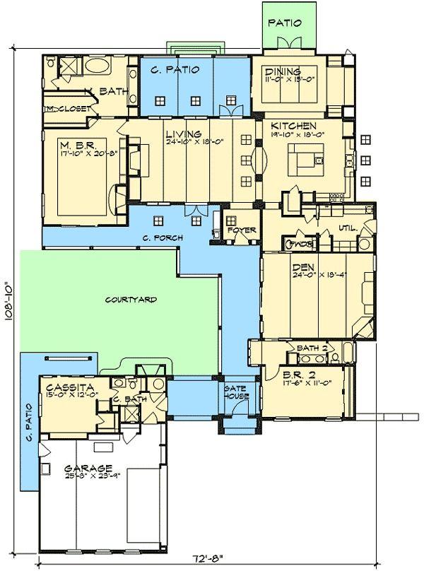 Plan 36812jg Casita And Courtyard Classic Multigenerational House Plans House Plans Courtyard House Plans