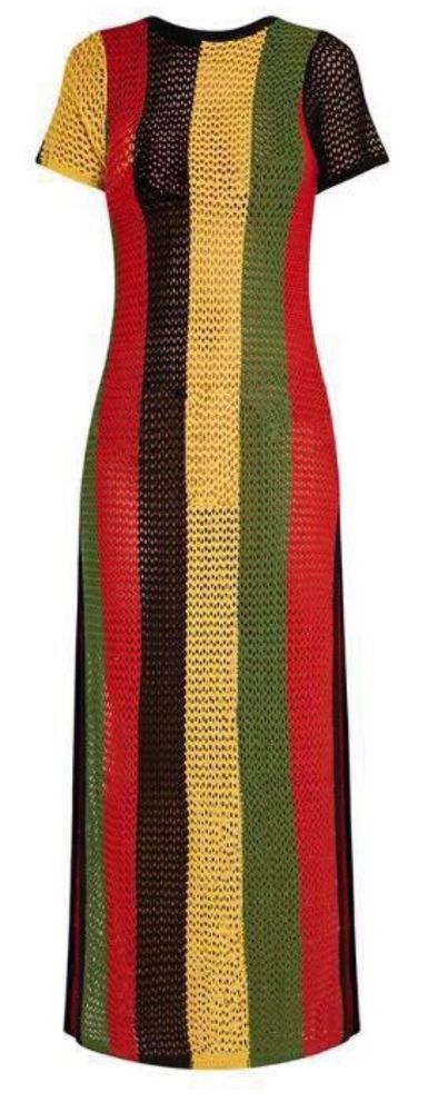 bce4d4a68e Details about Ladies rasta string maxi dress