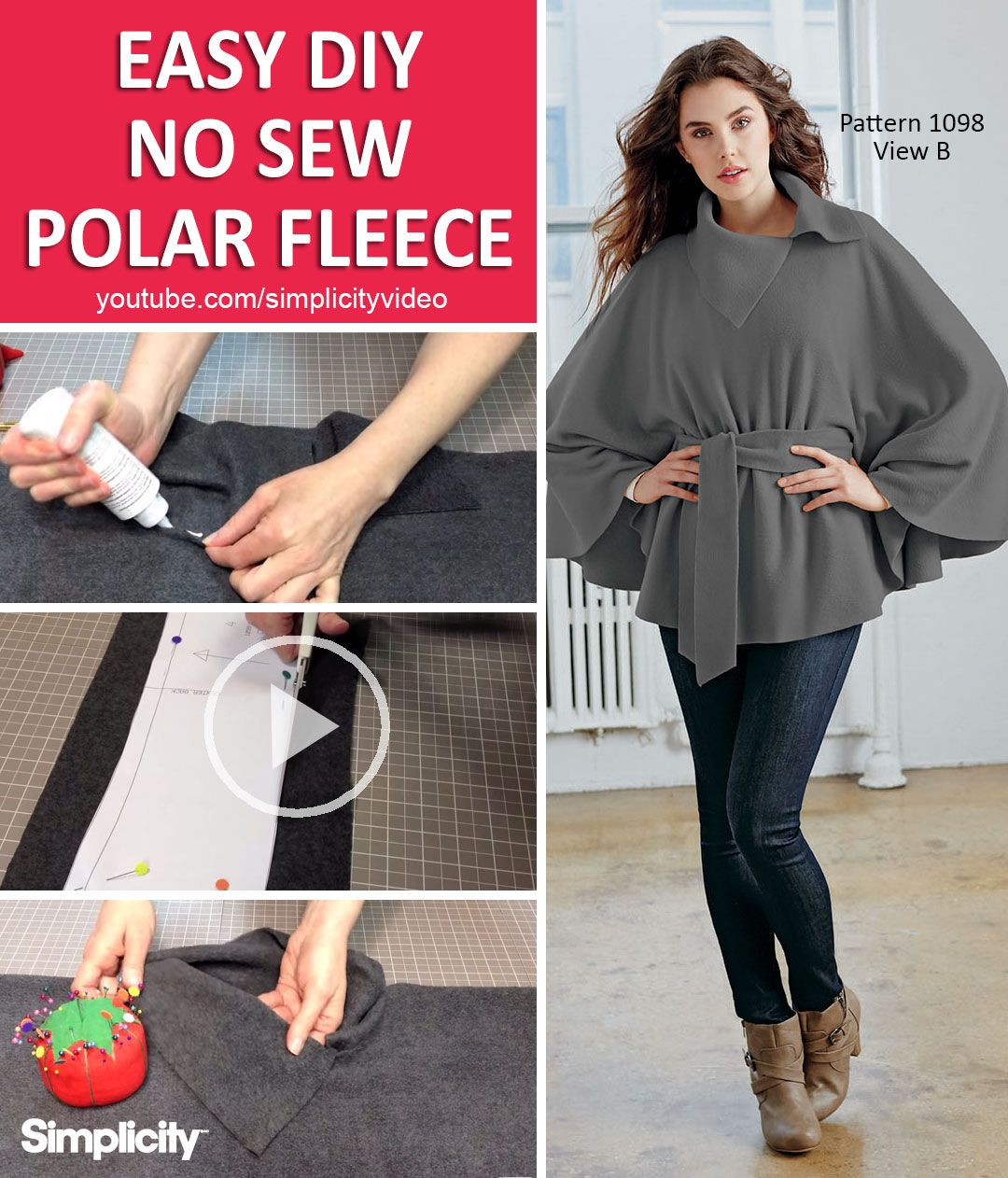 Make This Warm Polar Fleece Wrap In Just 5 Easy Steps In Under An Hour Using Simplicity Pattern 1098 No Sewing Sewing Fleece Fleece Poncho Refashion Clothes