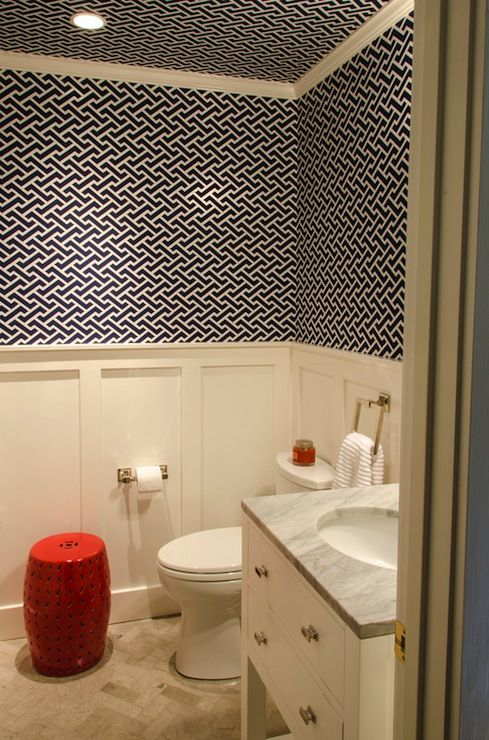 Source evars and anderson lovely powder room with white for Navy bathroom wallpaper