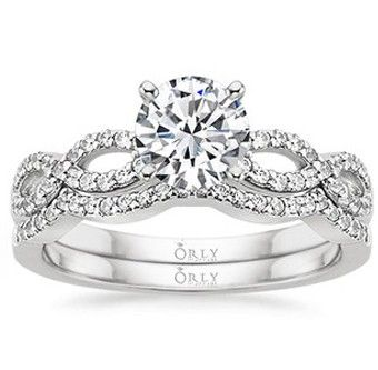 Round+Brilliant+Cut+Diamond+Infinity+Ring+and++Matching+Wedding+ ...