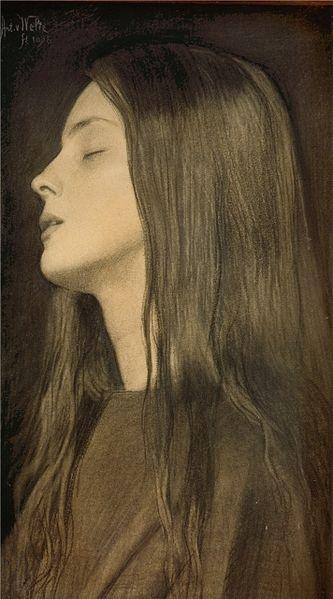 Antoon van Welie's La Douleur (1895). Van Welie schilderde een periode lang duidelijk en bewust prerafaëlitisch geïnspireerde werken, in de meest expliciete zin des woords.