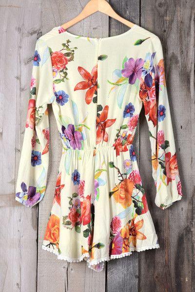 It's a sheer winner.          ---CLTK047 Details: Floral printing Plunging neckline Elastic at waist Zip at back Lacing hem Regular wash Fabric: 60%Pol