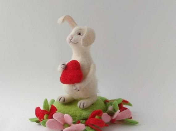 Needle felted bunny, Kids room decor, Wool animal sculpture #needlefeltedbunny