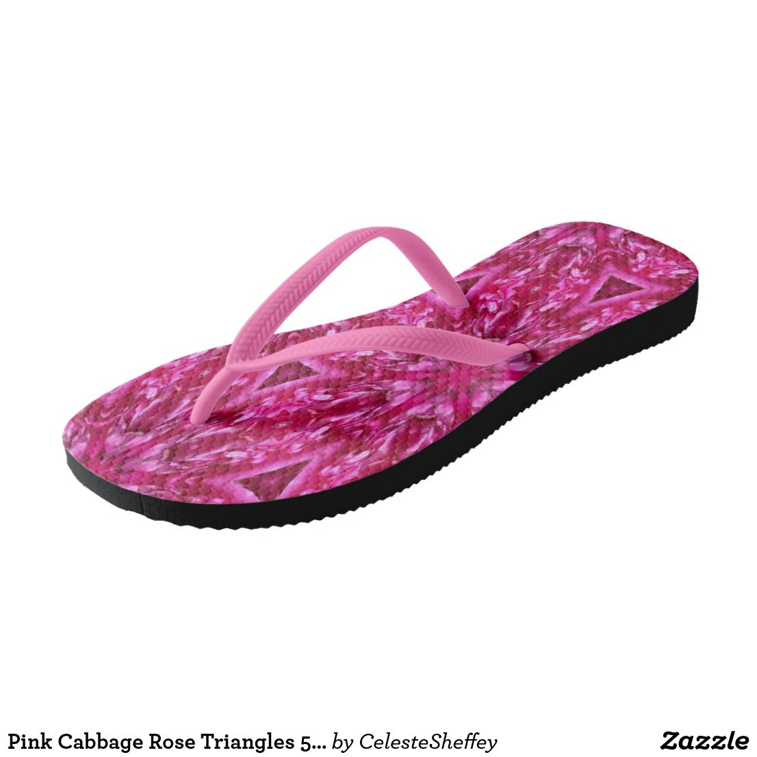 Pink Cabbage Rose Triangles 5072 Flip Flops