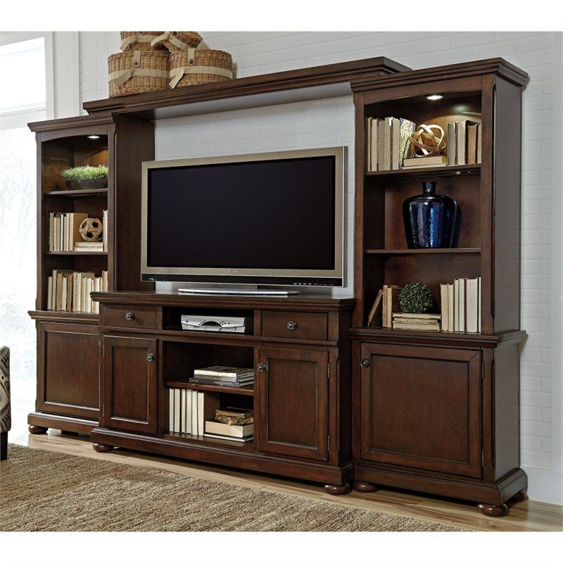 Cymax~Signature Design By Ashley Furniture Porter Entertainment Center In  Brown   W697 132
