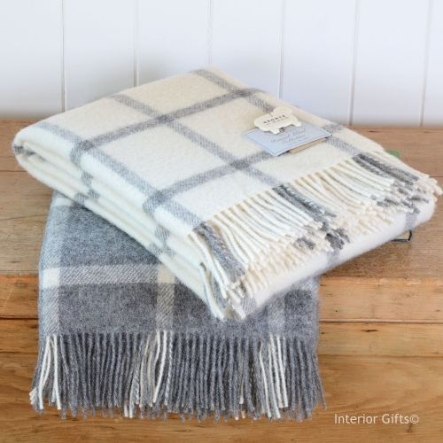 Bronte Natural Wool Collection Cream Check Windowpane Throw