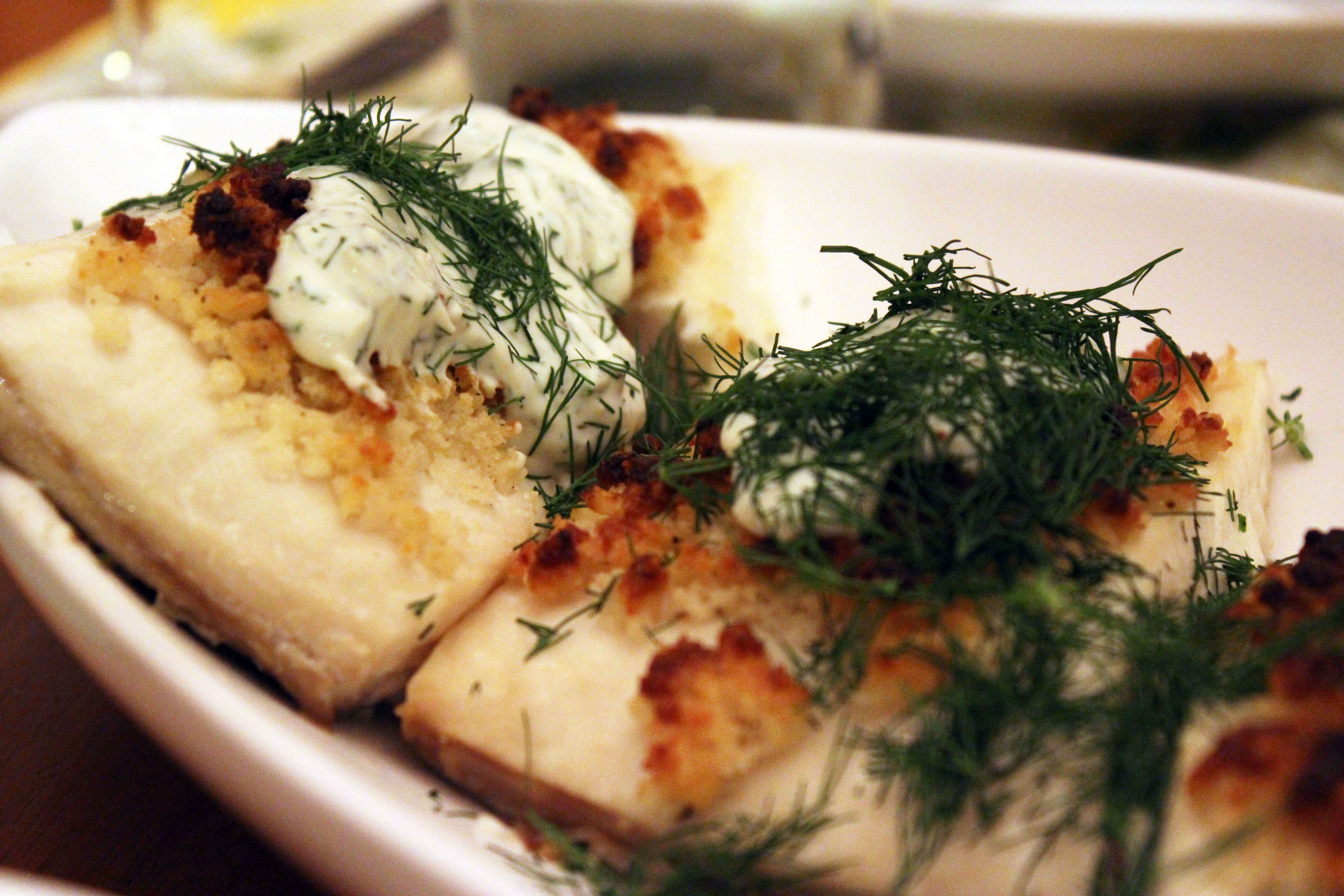 Parmesan-Crusted Fish with Creamy Dill Sauce