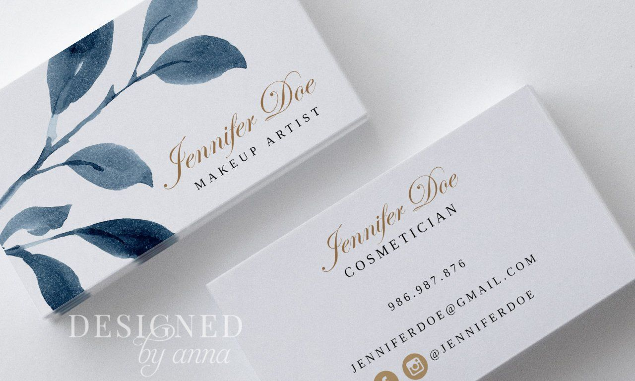 Greenery Business Card Design Printable Busienss Card Template Etsy Business Card Design Watercolor Business Cards Card Design